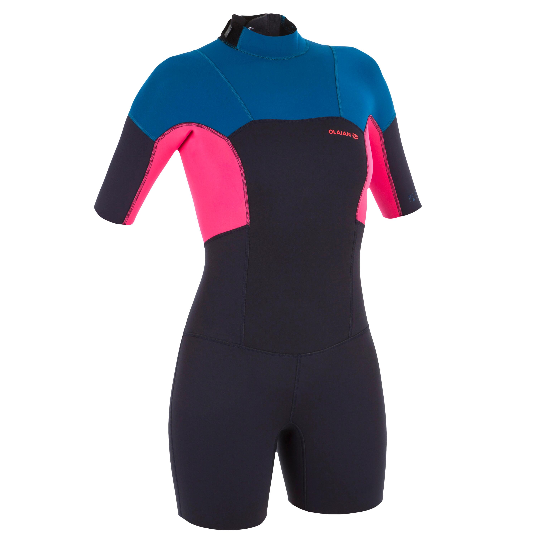 500 women's 2mm stretch neoprene blue pink Shorty Surfing wetsuit