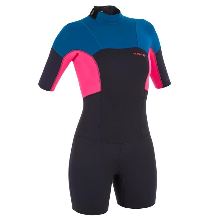 Dames shorty 500 stretch neopreen 2 mm blauw roze