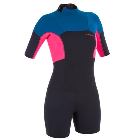Women's 2mm neoprene 500 stretch shorty blue pink