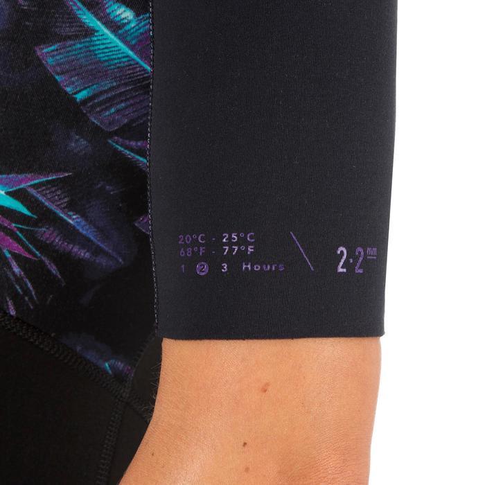 Dames shorty 500 stretch neopreen 2 mm voor surfen zwart met print - 1300179
