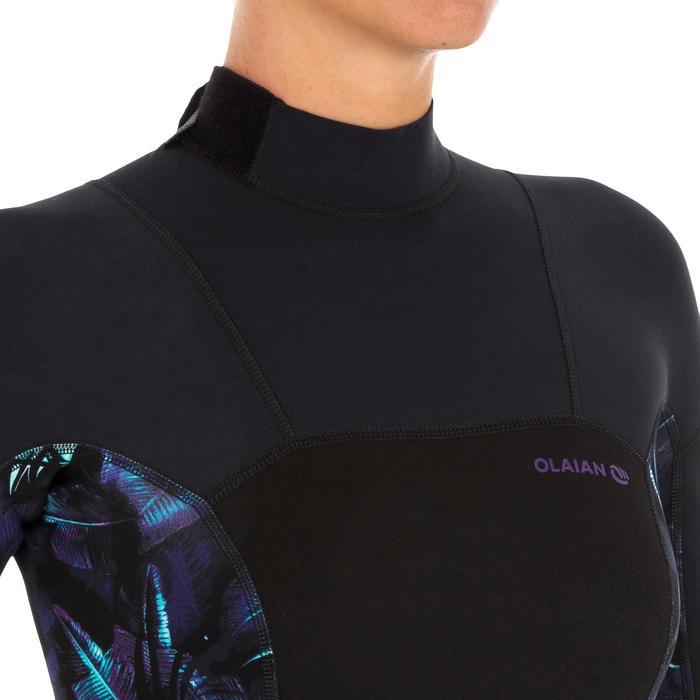 Dames shorty 500 stretch neopreen 2 mm voor surfen zwart met print - 1300182