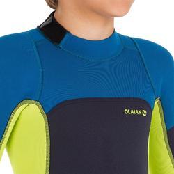Traje Neopreno Corto Surf Olaian Niños Shorty 2 mm Azul Marino Amarillo