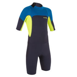 500 Child's 2 mm Stretch Neoprene Navy Blue Yellow Shorty Surfing Wetsuit