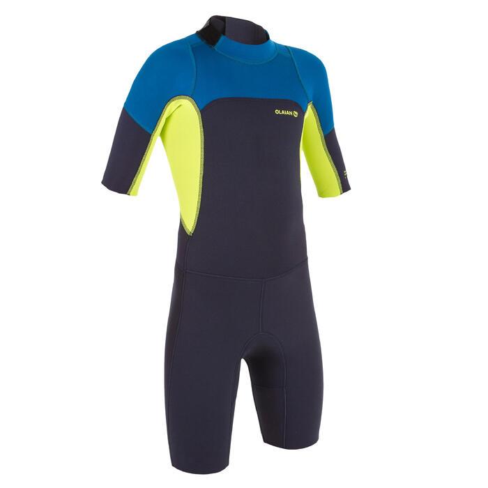 Neoprenanzug Shorty Surfen 500 Neopren 2mm Kinder marineblau/gelb