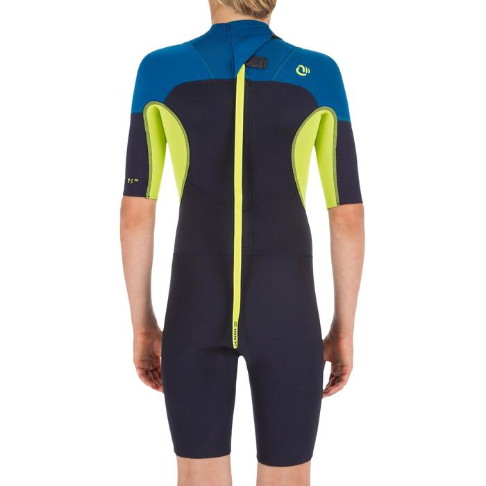 Combinaison Surf Shorty 500 stretch Néoprène 2mm enfant bleu marine jaune