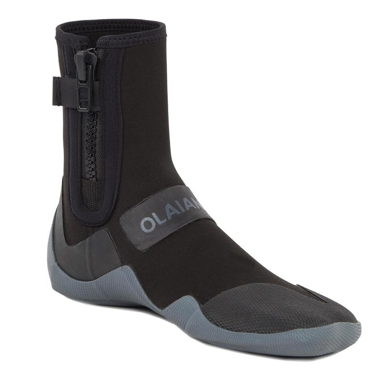 拉鍊式氯丁橡膠(neoprene)衝浪短靴500 3 mm-黑色/灰色
