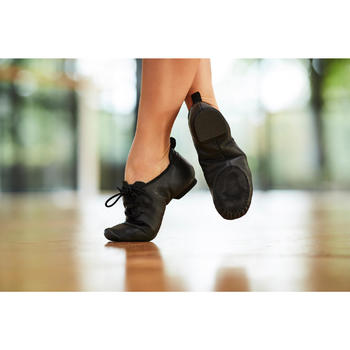 Chaussons de danse moderne en cuir souple noir - 1300527