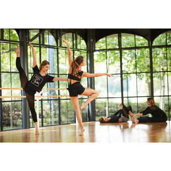 T-shirt court de danse femme noir - 1300543