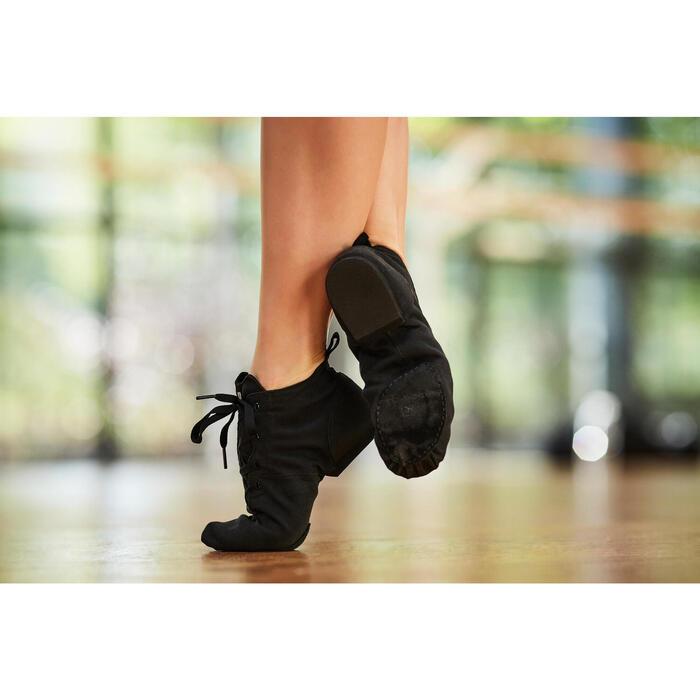 Hoge dansschoenen in canvas voor moderne dans en jazzdans zwart