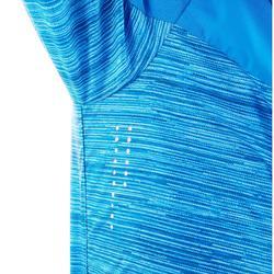 女童款防風健行外套Helium 500-藍色線條款
