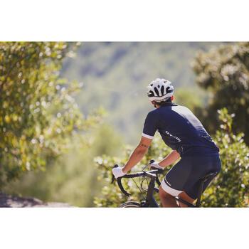 MAILLOT MANGA CORTA CICLISMO CARRETERA HOMBRE ROADCYCLING 500 AZUL MARINO BLANCO