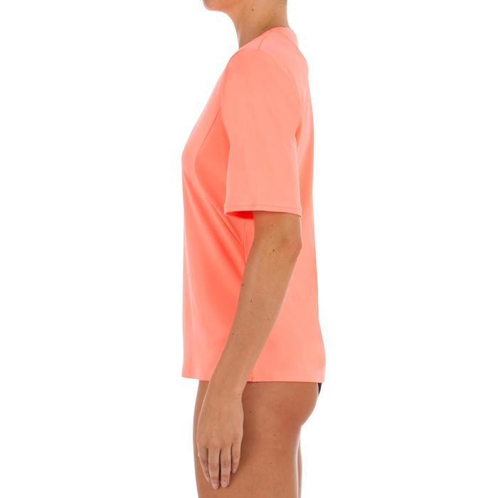 Uv-werend zwemshirt met korte mouwen voor dames, voor surfen, fluokoraal