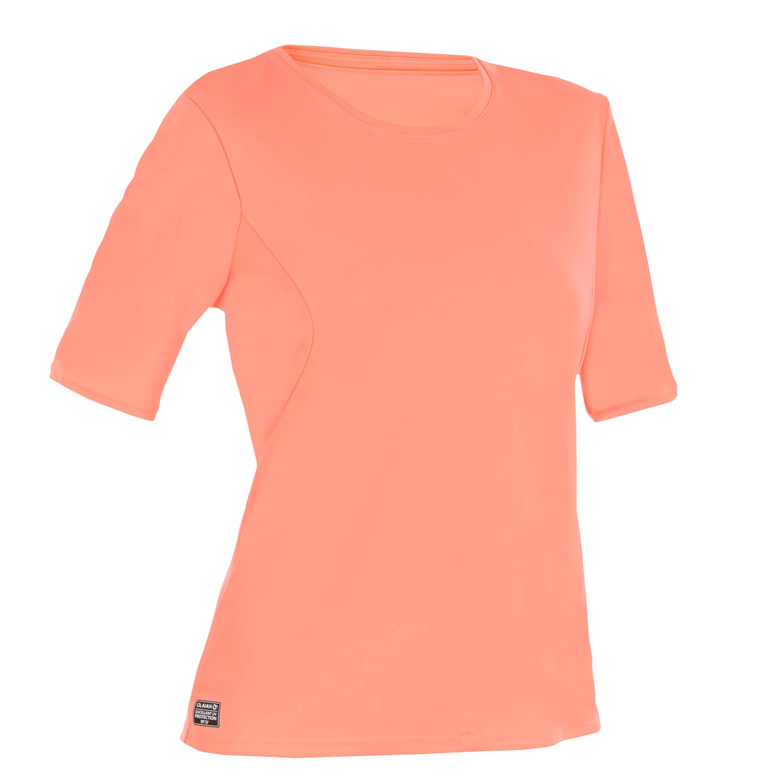 Playera de surf anti-UV Manga corta mujer rojo coral fluorescente