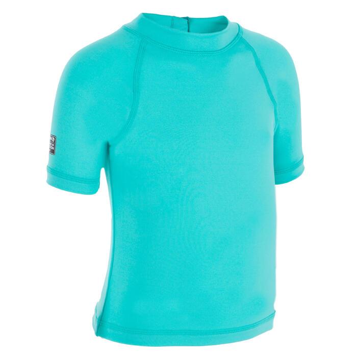 Camiseta anti-UV surf top 100 manga corta bebé Azul turquesa Nabaiji ... d933ea8a2db