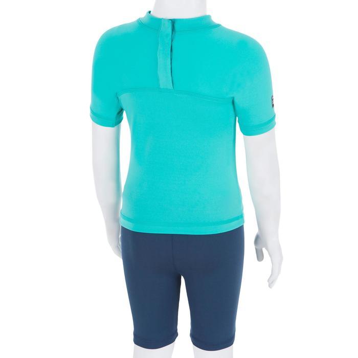 Camiseta anti-UV surf top 100 manga corta bebé Azul turquesa