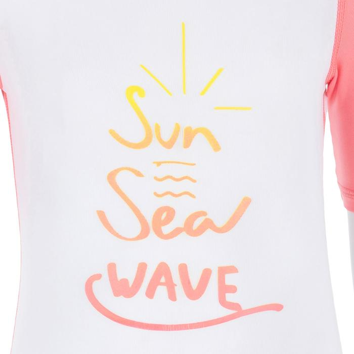 Camiseta anti-UV shorty surf manga corta bebé Blanco Rosa