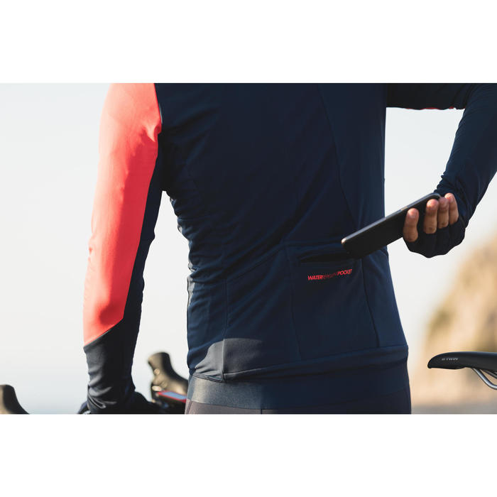 Langarm-Radtrikot Rennrad 900 Herren marineblau/rot