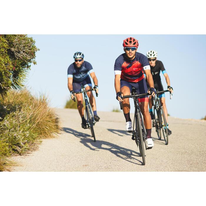 Fietsshirt racefiets korte mouwen heren Roadcycling 900 Xred marineblauw