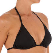 Bikini mujer top triángulo ajustable MAE liso negro