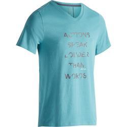 Heren T-shirt 520 voor gym en pilates V-hals regular fit Britanny blue print