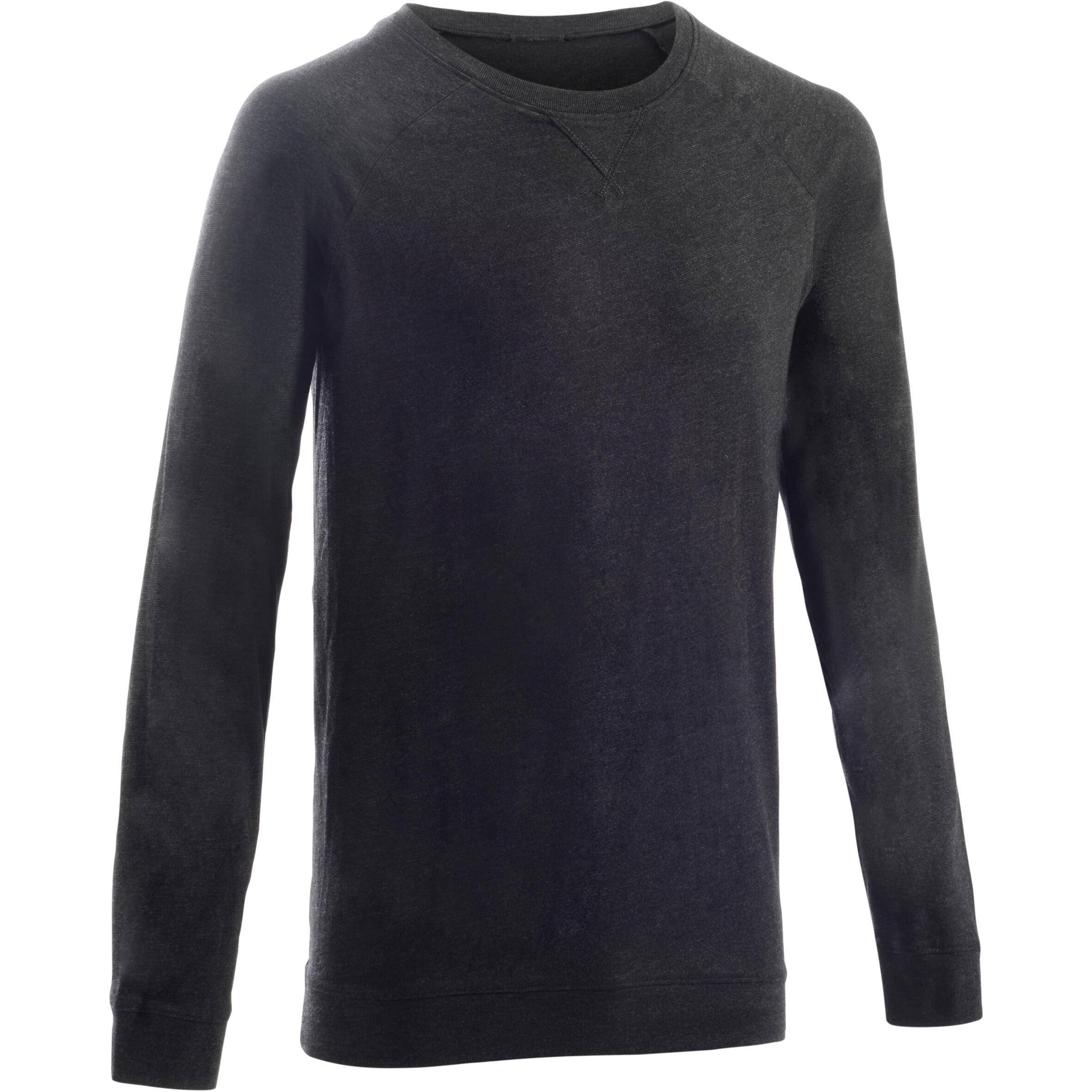 Domyos Herensweater 100 voor gym en stretching donkergrijs