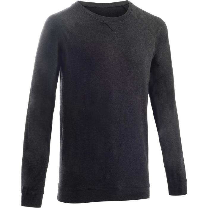 Herensweater 100 voor gym en stretching donkergrijs