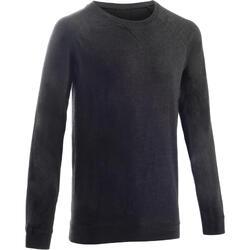 Sweater 100 voor pilates en lichte gym heren donkergrijs