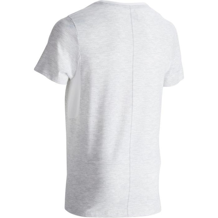 Camiseta 520 slim cuello redondo gimnasia y pilates blanco estampado hombre