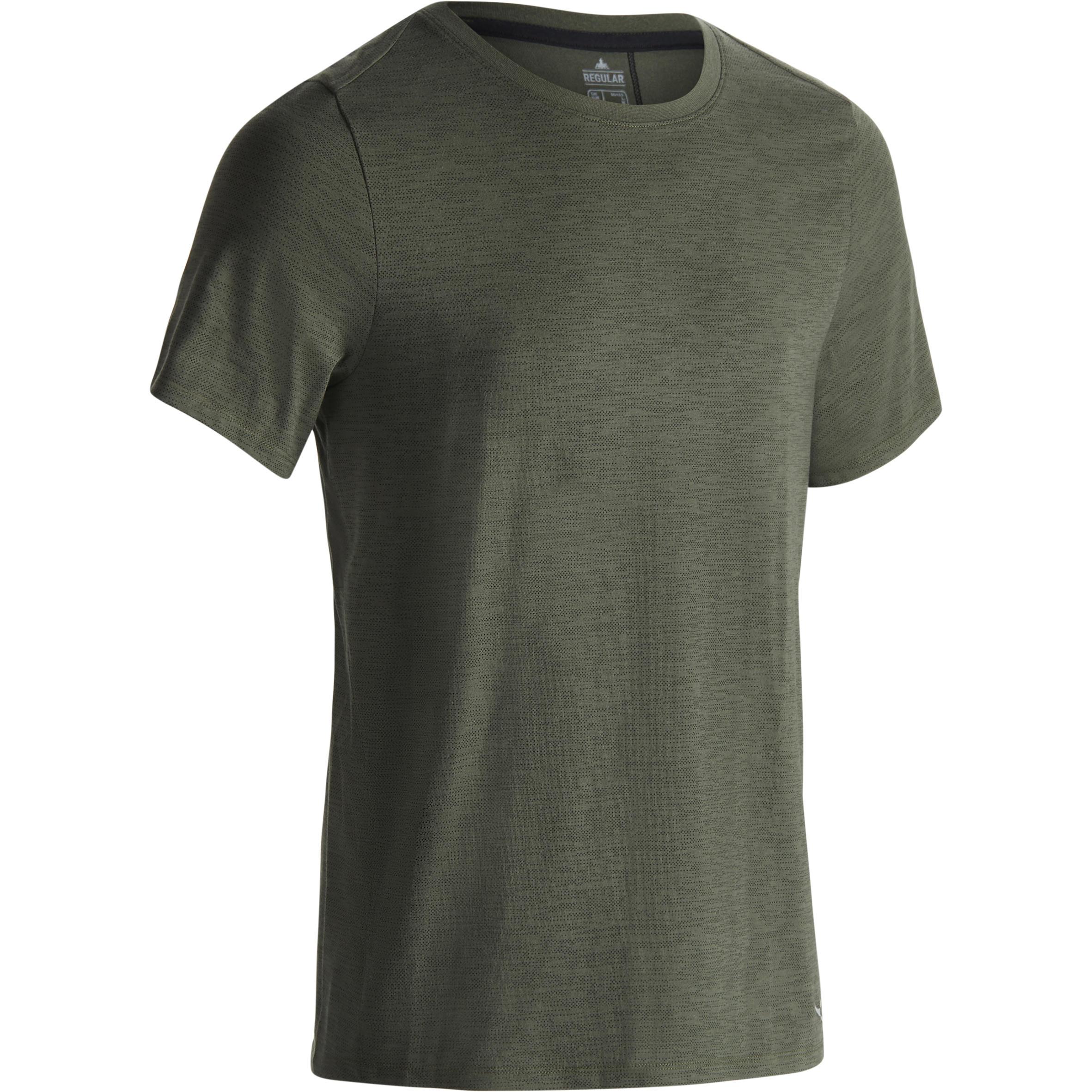 Domyos Heren T-shirt 520 voor gym en pilates, regular fit, ronde hals