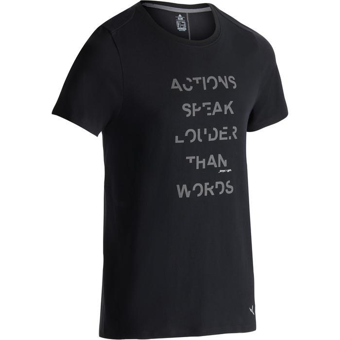 Camiseta 520 slim cuello redondo gimnasia y pilates negro estampado hombre
