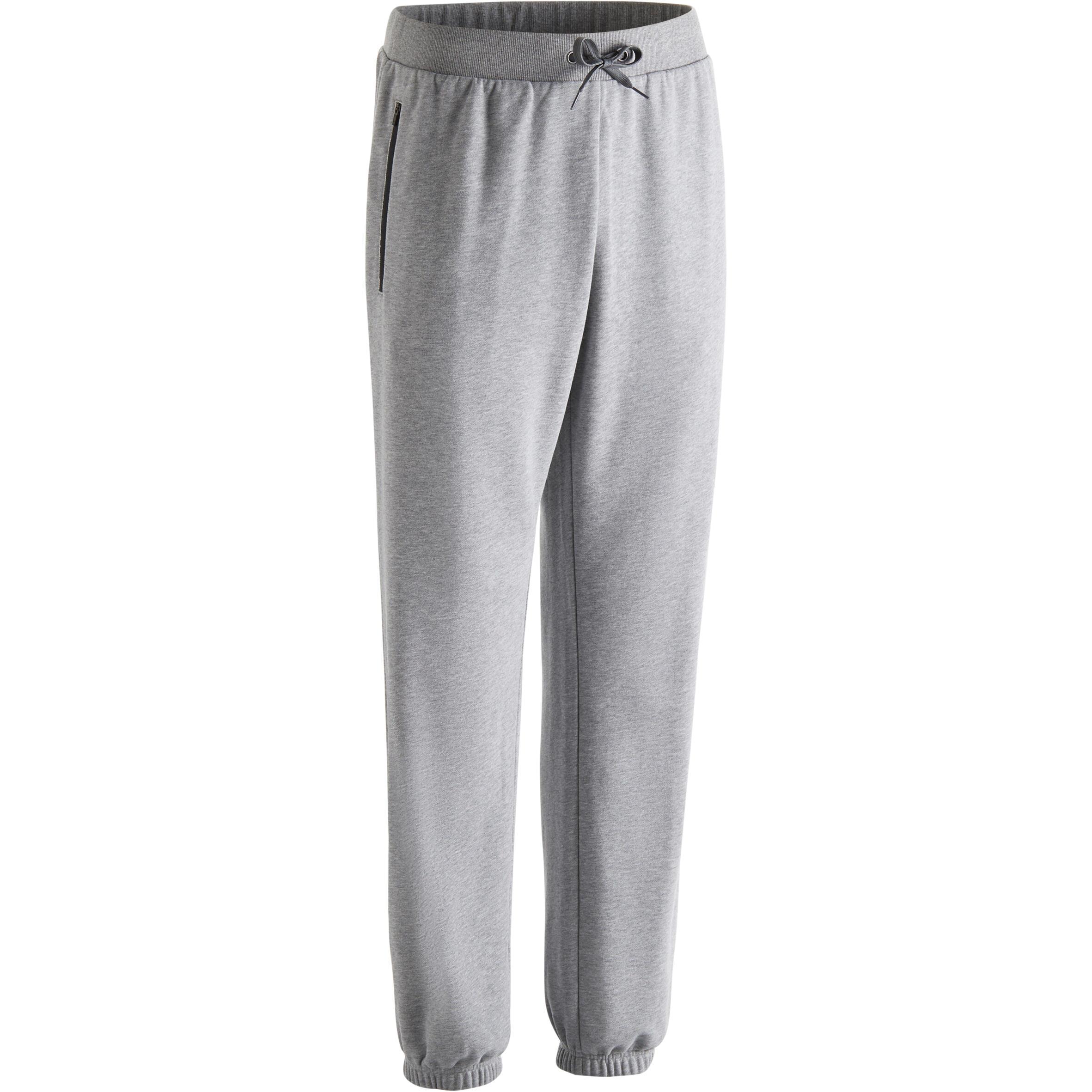 Pantalon 500 régulier zip gymnastique d'étirement homme gris clair chiné