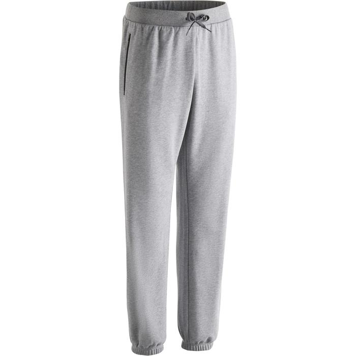 Pantalon 500 regular zip Gym Stretching homme gris clair chiné