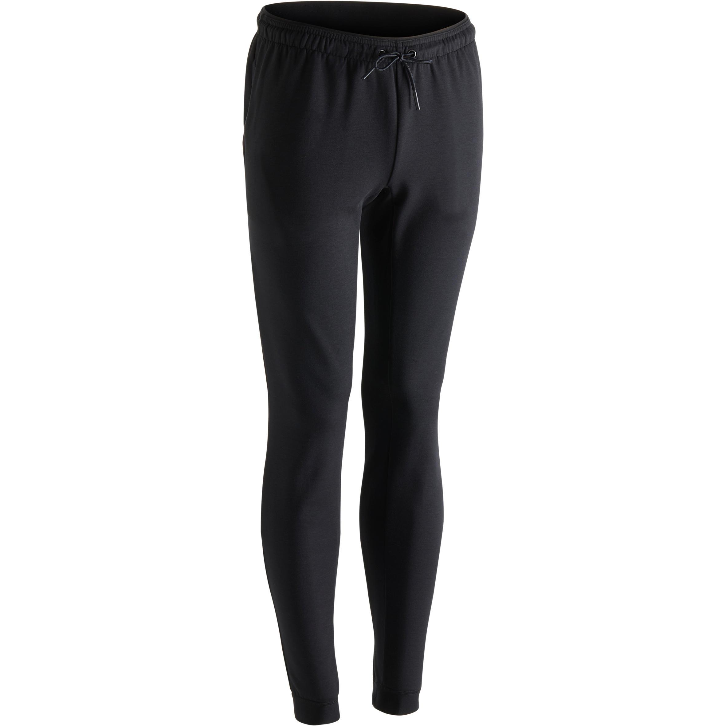Domyos Herenbroek 560 voor gym en pilates, skinny fit, zwart