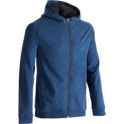 Veste 500  Gym & Pilates homme capuche bleu foncé