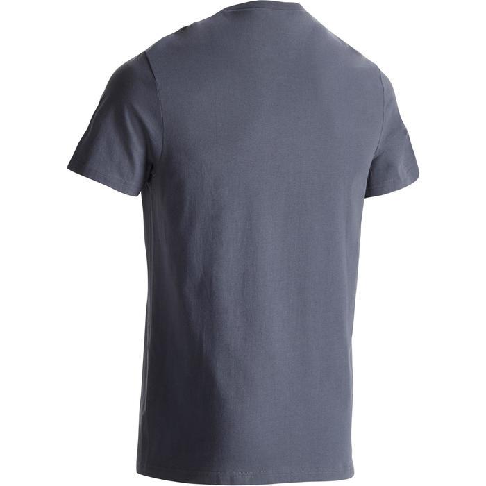 Camiseta Sportee 100 Pilates Gimnasia suave 100% algodón hombre gris azul
