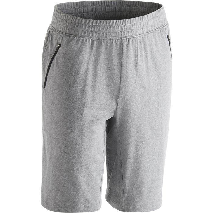Herenshort 520 gym en stretching slim fit tot net boven de knie grijs
