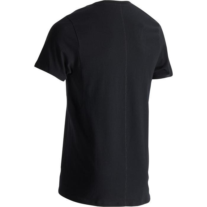 Heren T-shirt 520 voor gym en pilates slim fit ronde hals zwart met opdruk
