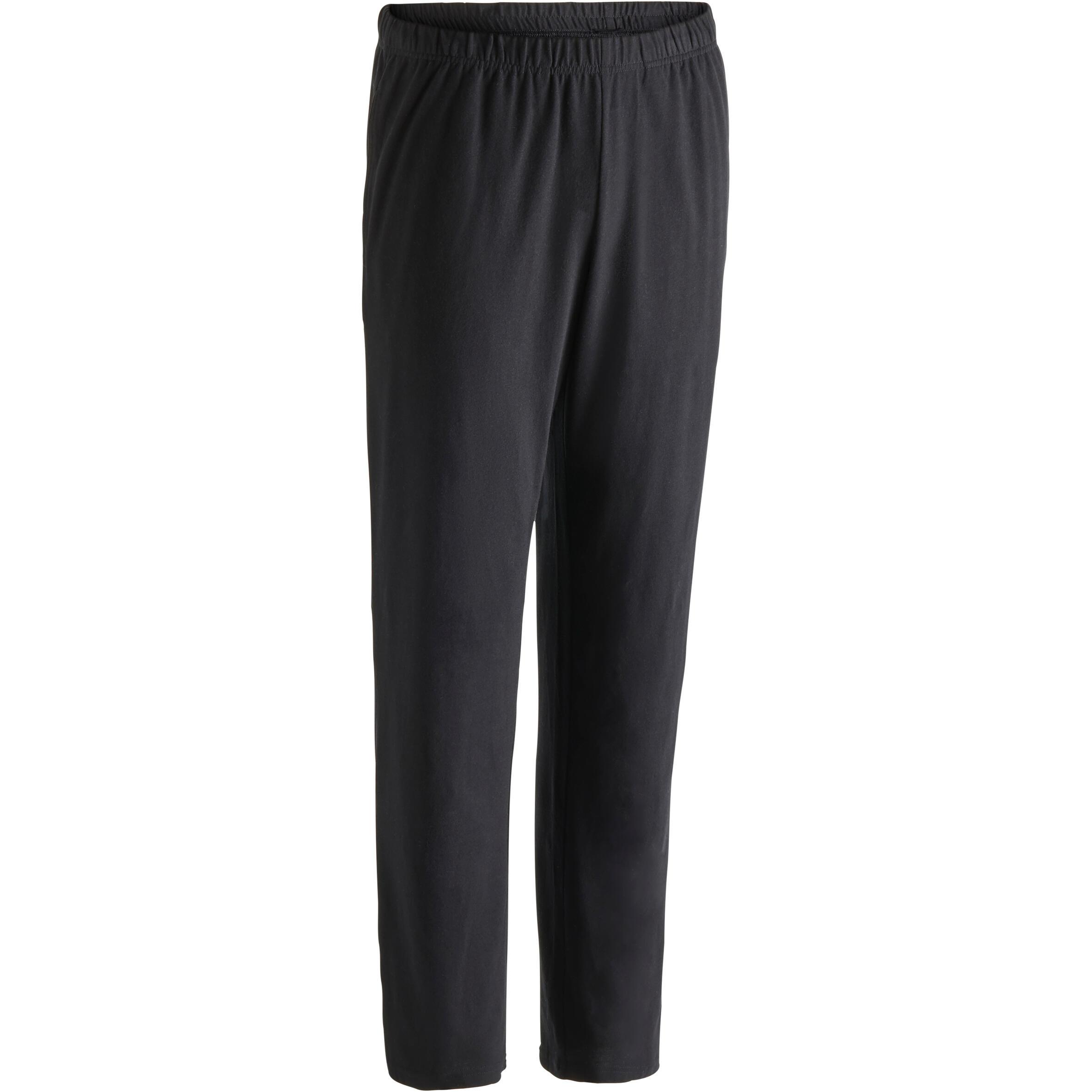 Pantalon 100 régulier gymnastique d'étirement noir homme