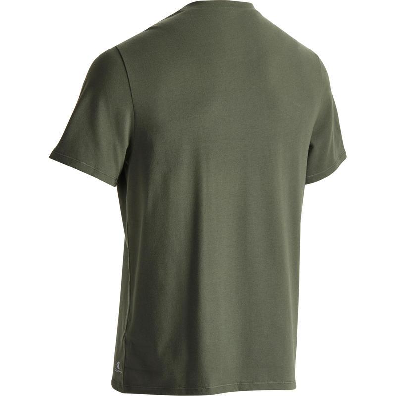 T-Shirt 500 regular manches courtes gym et pilates homme kaki chiné