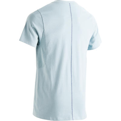 520 Men's V-Neck Slim-Fit Gym & Pilates T-Shirt - Blue Print