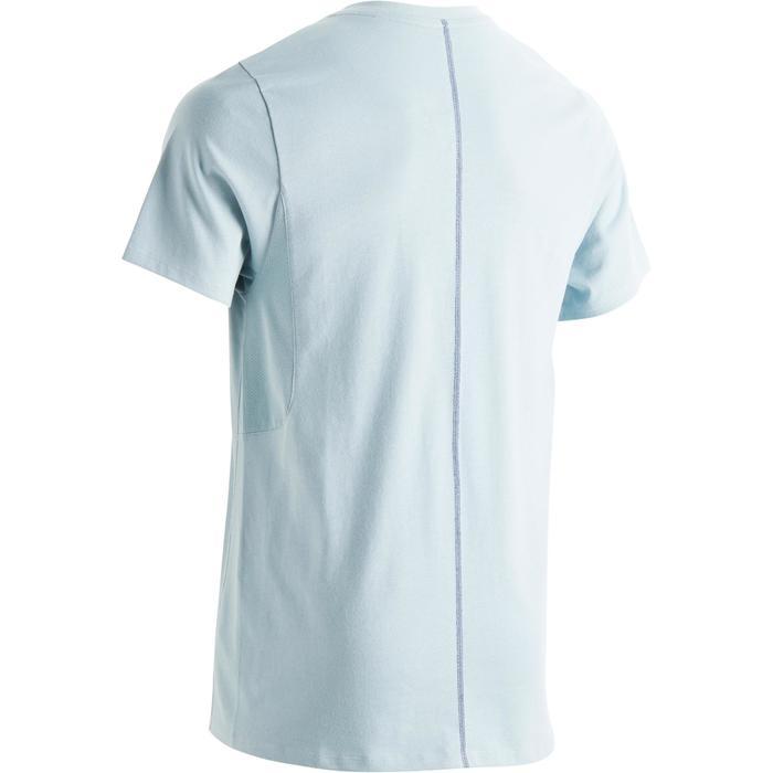 Heren T-shirt 520 voor gym en pilates slim fit, V-hals, blauw print