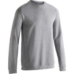 Herensweater 500 voor gym en stretching lichtgrijs