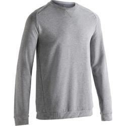 Sweatshirt 500 voor gym en pilates heren grijs