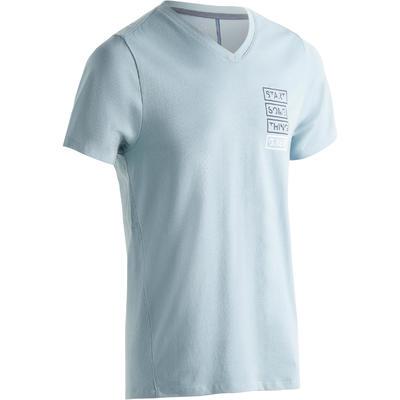 520 Men's V-Neck Slim-Fit Gym & Pilates T-Shirt - Blue Print