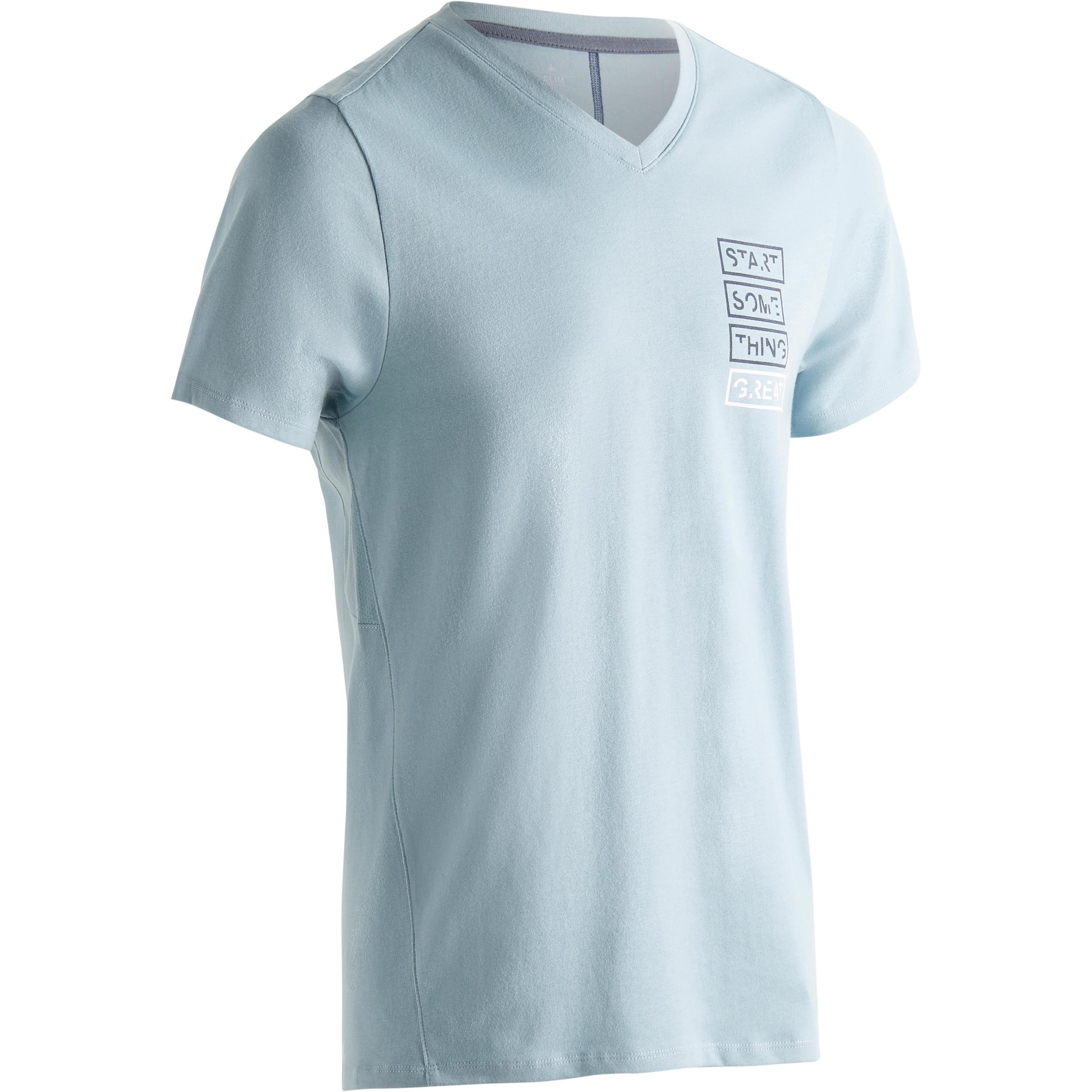 Domyos Heren T-shirt 520 voor gym en pilates slim fit, V-hals, blauw print