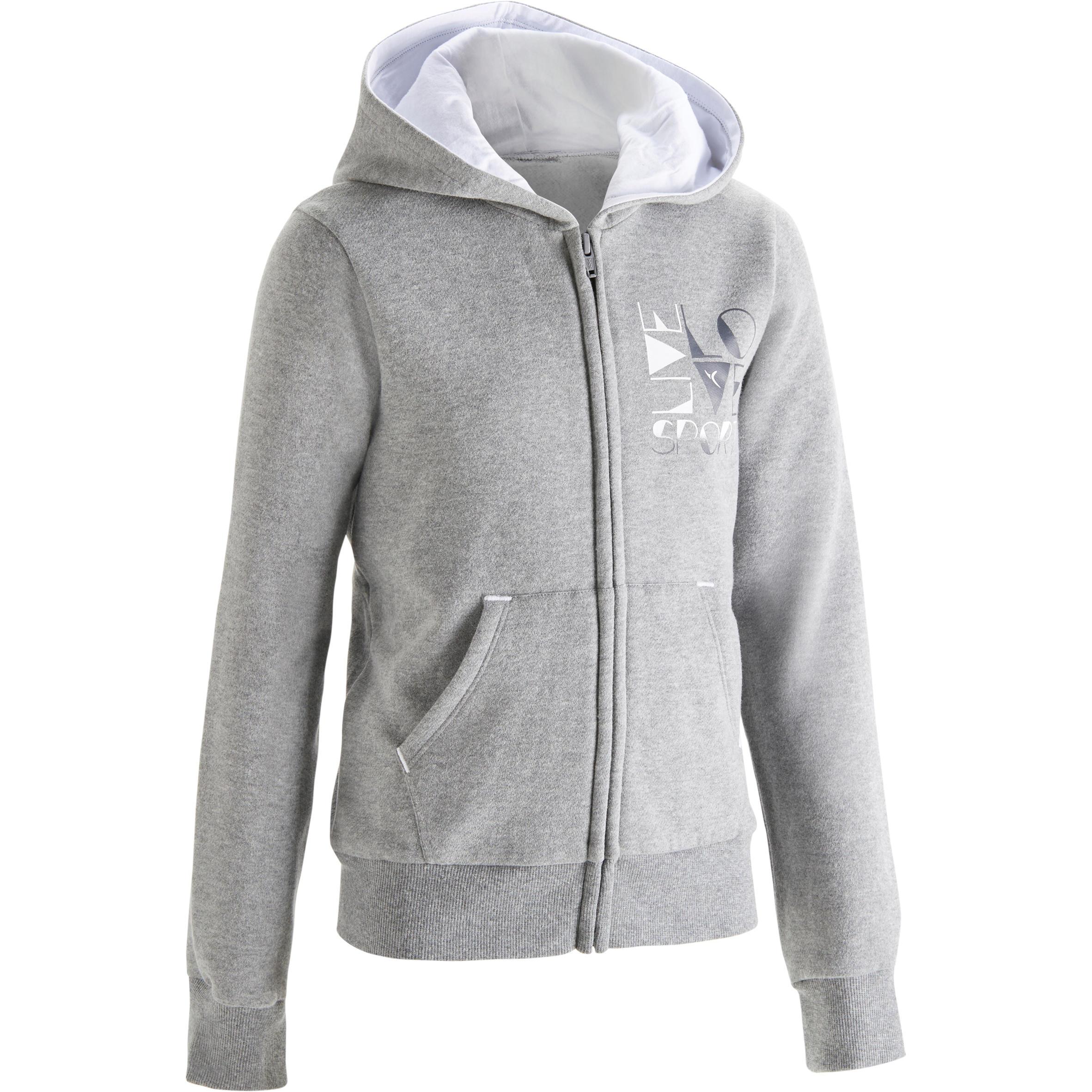500 Girls Brushed Jersey Gym Jacket Grey