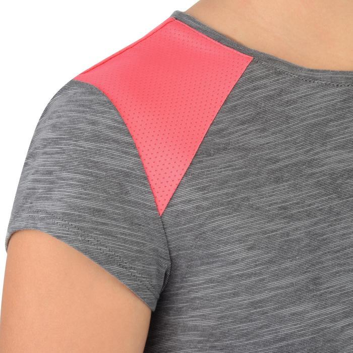Camiseta de manga corta 500 gimnasia niña gris rosa