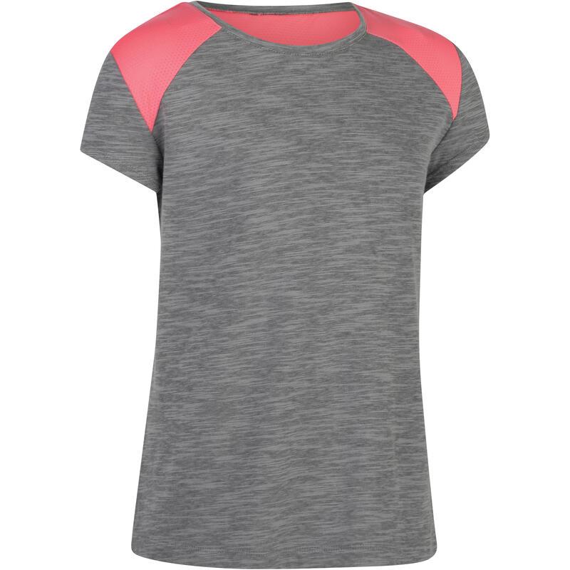 e2d1ffd04 Camiseta de manga corta 500 gimnasia niña gris rosa