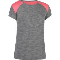 Camiseta De Manga Corta Gimnasia Domyos 500 Niña Gris Rosa