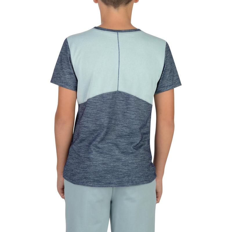 T-Shirt 500 manches courtes Gym garçon gris bleu